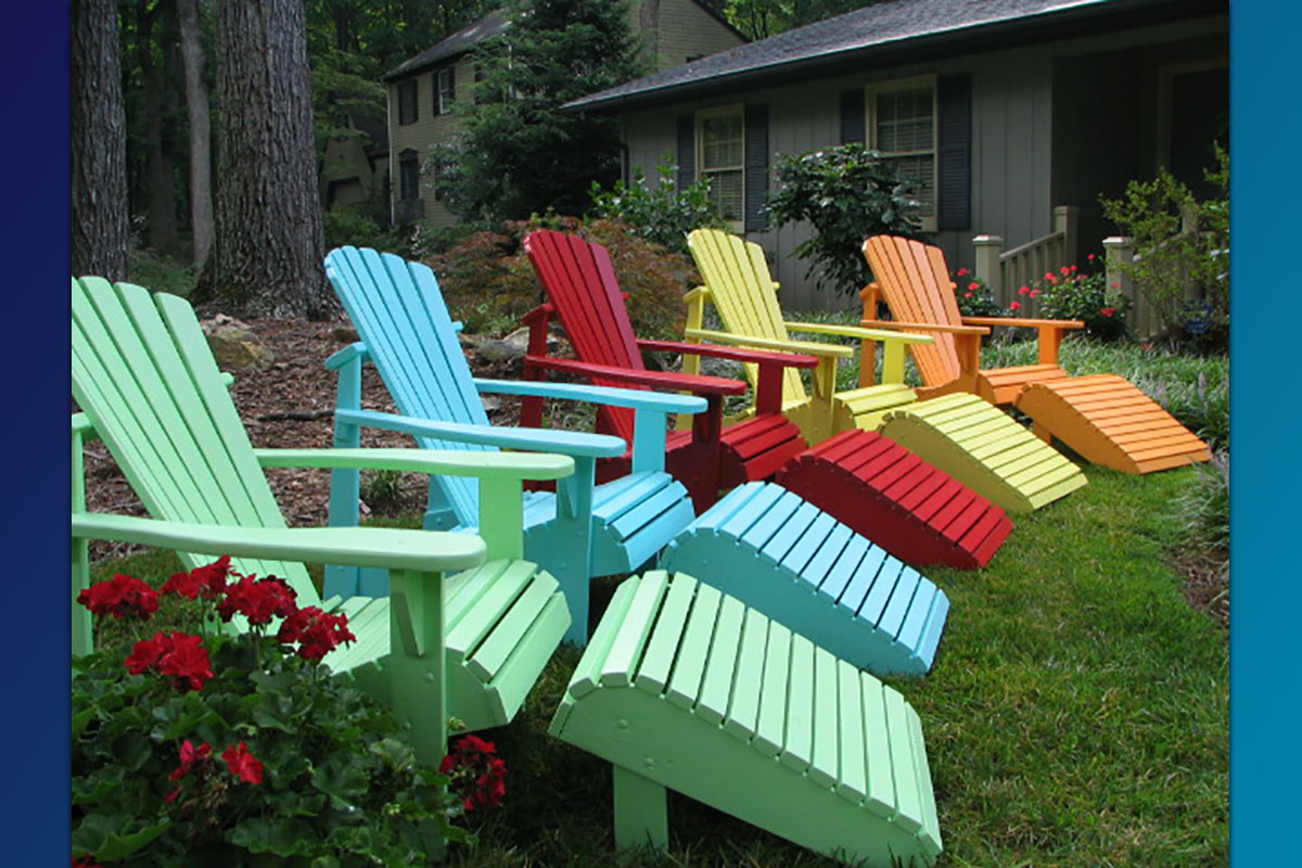 Classic Adirondack Chairs with Footrests ( Painted Series)