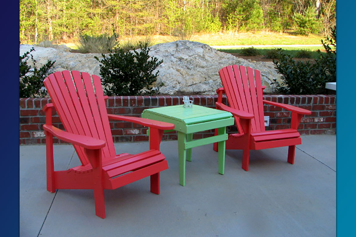 Classic Adirondack Chairs with Accent Side Table ( Painted Series)