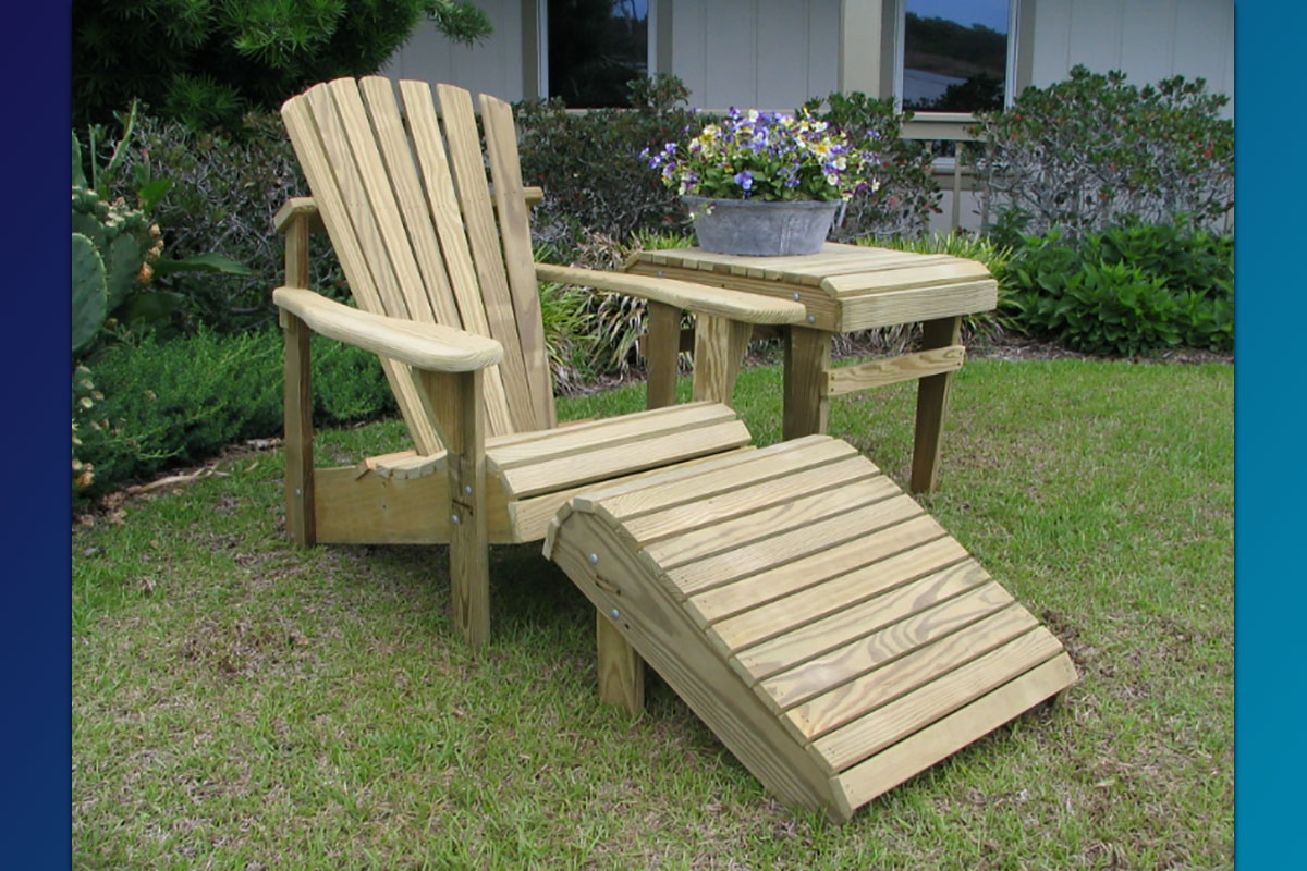 Classic Adirondack Chair (Unfinished Natural) with Footrest & Accent Side Table