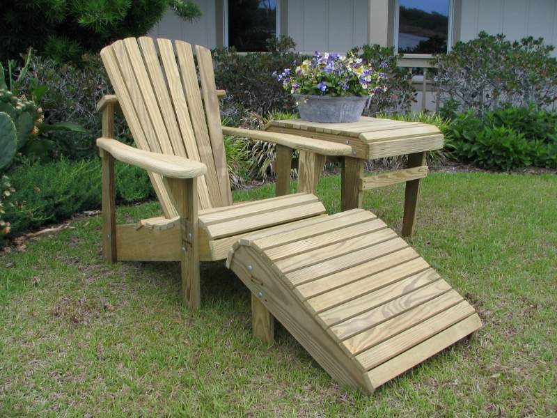 Classic Adirondack Chair (Unfinished Natural) with Footrest and Accent Side Table