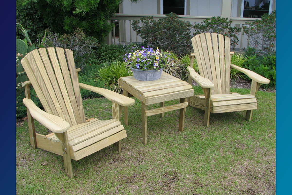 Classic Adirondack Chairs (Unfinished Natural) with Accent Side Table