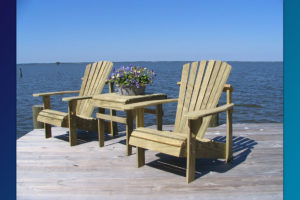 Classic Adirondack Chairs (Unfinished Natural) with Accent Side Table 2