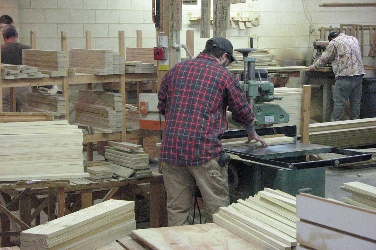 Lumber cut into various sizes for furniture parts