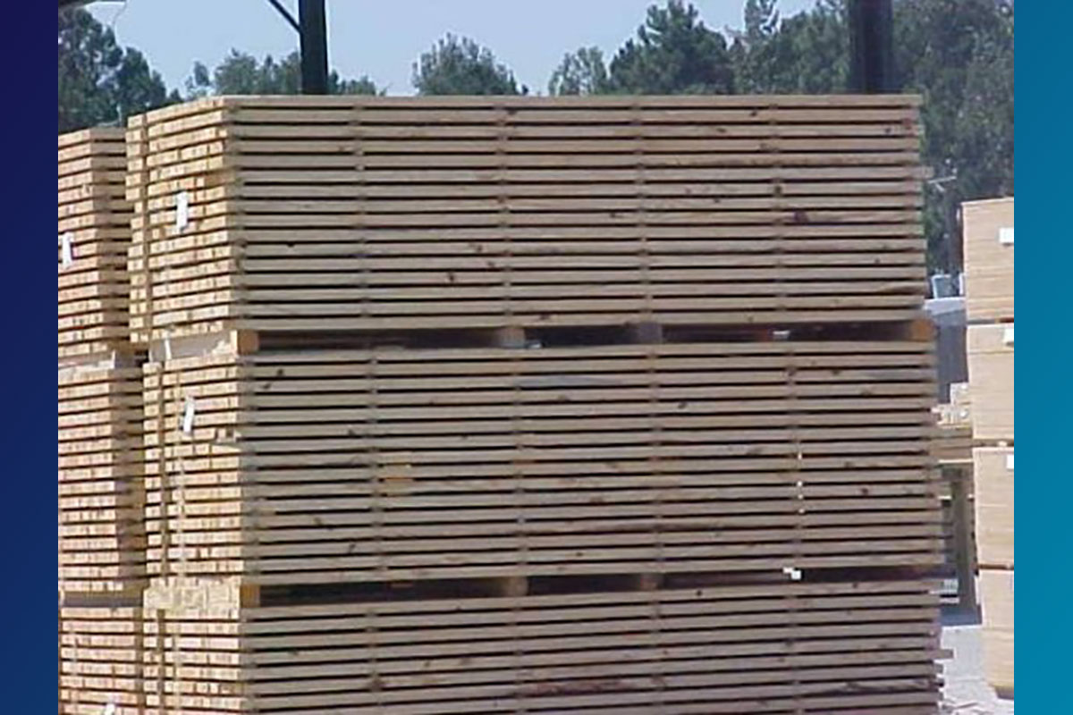 Treated lumber drying after treatment