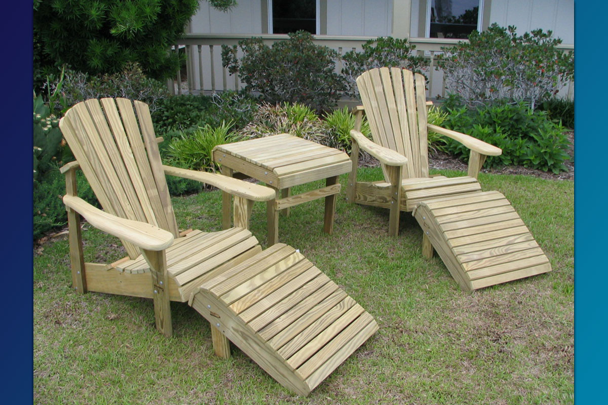 Adirondack Footrest With Side Table U0026 Classic Adirondack Chair (Unfinished)
